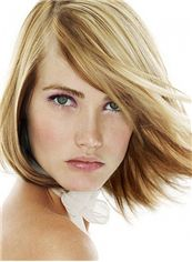 Glamorous Full Lace Straight Short Blonde Indian Remy Hair Wig