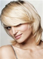 Concise Capless Short Wavy Blonde Indian Remy Hair Wig