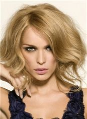 Stunning Full Lace Short Wavy Blonde Top Human Hair Wig