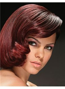 Amazing Full Lace Short Wavy Red Indian Remy Hair Wig
