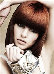 Exquisite Medium Straight Brown Real Hair Wigs