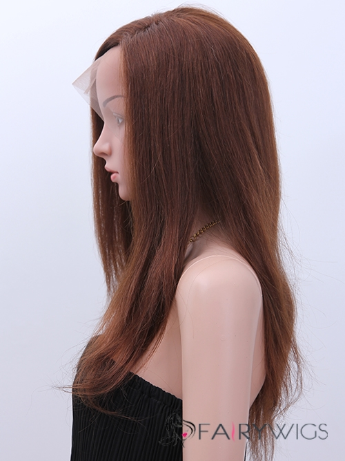 Cheap Full Lace Long Straight Brown Top Human Hair Wig