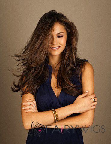 Concise Full Lace Wavy Brown Long Real Human Hair Wig
