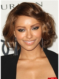 Cheap Colored Lace Front Short Wavy Brown Indian Remy Wigs for Black Women