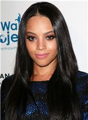Glitter Lace Front Long Straight Black Remy Hair Wig