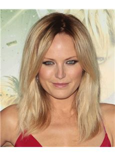 Attractive Full Lace Medium Straight Blonde Remy Hair Wig