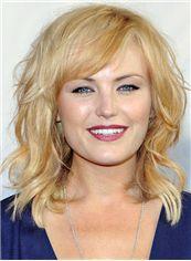 Faddish Capless Medium Wavy Blonde Remy Hair Wig