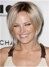 Glamorous Short Straight Full Lace Blonde Remy Hair Wig