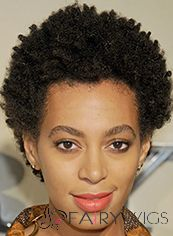 Virgin Brazilian Hair Black Curly Short Full Lace Wigs for Black Women