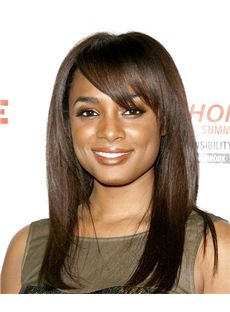 Wholesale Capless Medium Straight Brown Human Hair African American Wigs