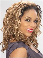 Elegant Medium Wavy Blonde African American Lace Wigs for Women