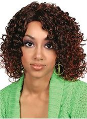 Top Quality Medium Curly Brown African American Lace Wigs for Women