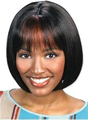 Glamorous Short Straight Black African American Wigs for Women