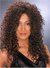 Concise Long Curly Brown African American Lace Wigs for Women