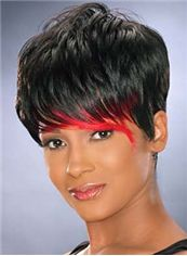 Modern Short Straight Black African American Wigs for Women 6 Inch