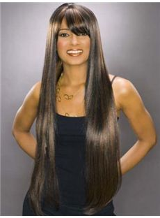 Wonderful Long Straight Brown African American Capless Wigs for Women