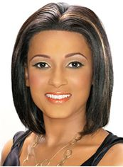Affordable Short Straight Sepia African American Lace Wigs for Women