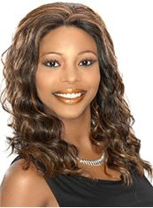 Afro American Wigs Medium Wavy Brown African American Lace Wigs for Women