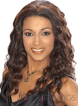 Marvelous Medium Wavy Sepia African American Lace Wigs for Women
