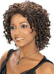 Sparkle Short Curly Sepia African American Lace Wigs for Women 12 Inch