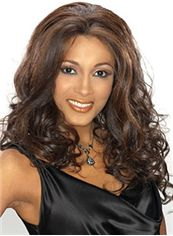 New Style Medium Wavy Brown African American Lace Wigs for Women