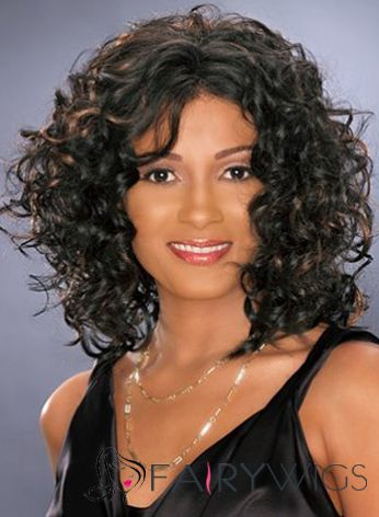 Lovely Short Curly Sepia African American Wigs for Women
