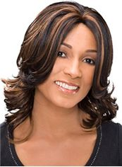 Sparkling Medium Wavy Brown African American Lace Wigs for Women