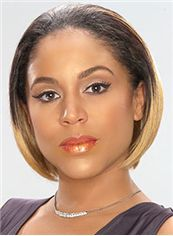Fashion Short Straight Blonde African American Lace Wigs for Women