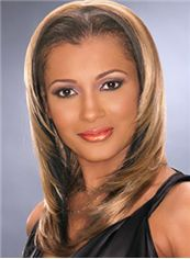 Mysterious Medium Straight Blonde African American Lace Wigs for Women