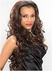 Multi-function Long 26 Inch Wavy Sepia African American Lace Wigs for Women