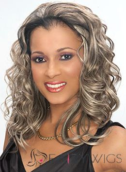 2015 Fashion Trend Medium Wavy Brown African American Lace Wigs for Women