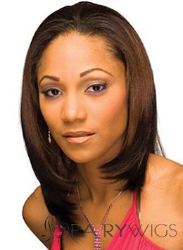 Brazil Medium Straight Brown African American Lace Wigs for Women