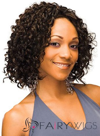 Special Cool Short Curly Sepia African American Lace Wigs for Women
