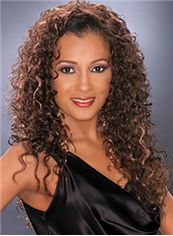 Fancy Long Curly Brown African American Lace Wigs for Women