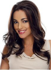Exquisite Long Wavy Sepia African American Lace Wigs for Women