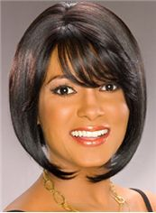 European Style Short Wavy Sepia African American Capless Wigs for
