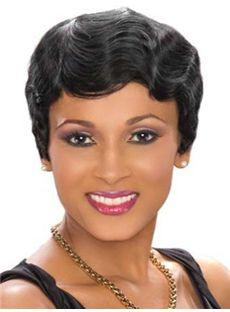 Discount Short Wavy Black African American Lace Wigs for Women 6 Inch