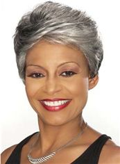 2015 Fashion Trend Short Wavy Gray African American Lace Wigs for