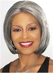 Top Quality Short Straight Gray African American Lace Wigs for Women