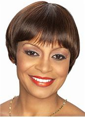 Cheap Short Straight Brown African American Wigs for Women 8 Inch