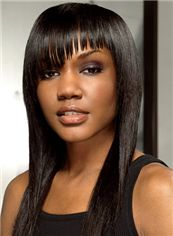 Modern Medium Straight Sepia African American Wigs for Women