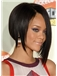 Shining Medium Straight Black African American Lace Wigs for Women