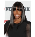 Lustrous Long Straight Black African American Wigs for Women