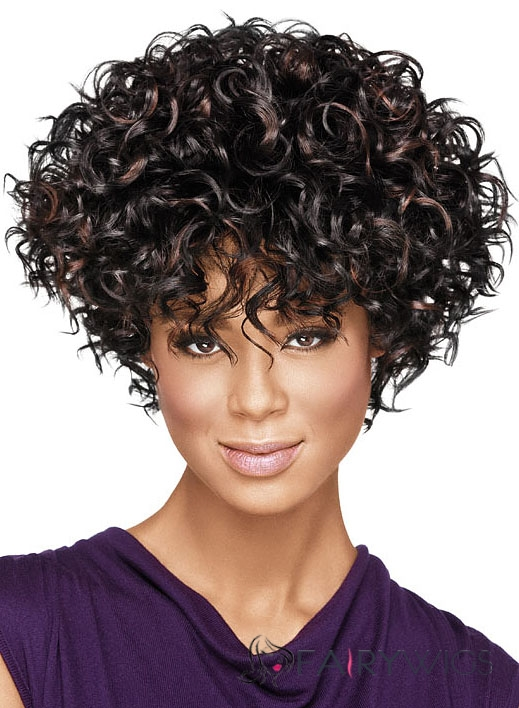 Chic Short Curly Sepia African American Wigs for Women 10 Inch