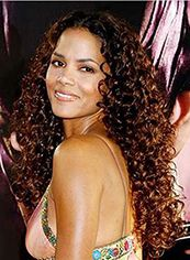 Sweet Long 24 Inch Curly Brown African American Lace Wigs for Women