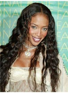 European Style Long 24 Inch Wavy Sepia African American Lace Wigs for