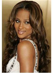 Cheap African American Wigs Long Wavy Brown African American Lace