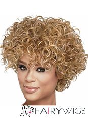 Sale Wigs Short Curly Blonde African American Wigs for Women 10 Inch