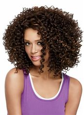 New Short Curly Sepia African American Lace Wigs for Women