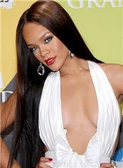 Lovely Long 28 Inch Straight Black African American Lace Wigs for Women